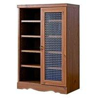 アンティーク調キャビネット60cm幅 レトロ調シェルフ,リビング収納,本棚,書棚,食器棚 クロスガラス仕様