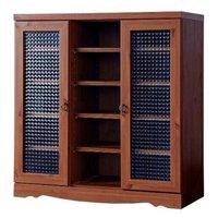 アンティーク調キャビネット86cm幅 レトロ調シェルフ,リビング収納,本棚,書棚,食器棚 クロスガラス仕様