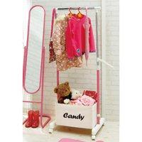 キャンディーカラー伸縮式ハンガーラック/全5色 かわいいパイプハンガー,衣類ハンガー 収納ボックス付