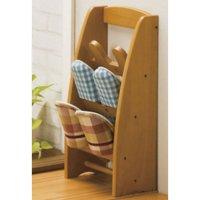 天然木製スリッパスタンド3段 スリッパラック スリッパ立て お客様用スリッパ収納 玄関収納 3足用