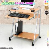 パソコンデスク 幅64cm スライドテーブル付 PCデスク 棚付 ワークデスク 作業台 机 キャスター搭載