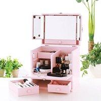 コスメボックス 三面鏡付 桃色 ピンク 化粧品 収納 メイクボックス メイク 間仕切り 化粧ボックス 取っ手付