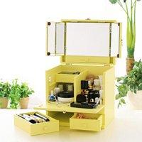 コスメボックス 三面鏡付 黄色 イエロー 化粧品 収納 メイクボックス メイク 間仕切り 化粧ボックス 取っ手付