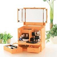 コスメボックス 三面鏡付 橙 オレンジ 化粧品 収納 メイクボックス メイク 間仕切り 化粧ボックス 取っ手付