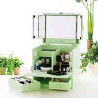 コスメボックス 三面鏡付 緑 グリーン 化粧品 収納 メイクボックス メイク 間仕切り 化粧ボックス 取っ手付