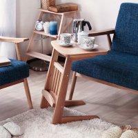 サイドテーブル ソファテーブル コの字型テーブル 補助テーブル 天然木  簡易テーブル コーナーテーブル 簡易デスク  マガジンラック付