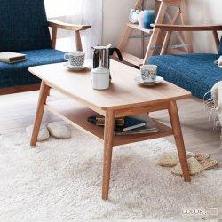 北欧風 センターテーブル 棚付 ローテーブル 机 幅90cm  リビングテーブル コーヒーテーブル  天然木タモ…