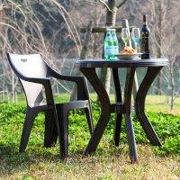 ガーデンテーブル & スタッキングチェア 4脚セット 屋外設置OK  ガーデンファニチャー 5点セット 4人掛け  同色4脚セット