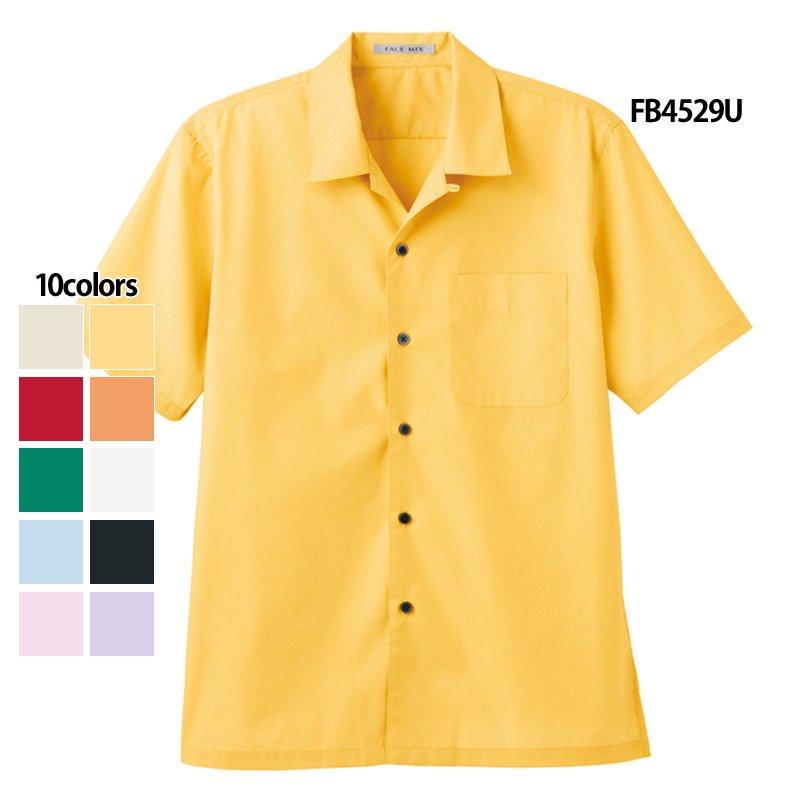《男女兼用》ブロードオープンカラー半袖シャツ(FACE MIX)