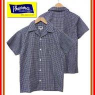 Pherrow's フェローズ 17S-PIS1 ギンガムチェック半袖シャツ オープンシャツ オープンカラー