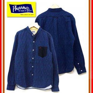 17W-PNCS1-IND インディゴキルティングバンドカラーシャツ