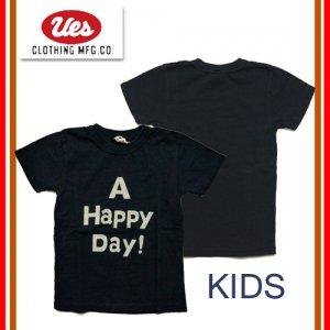 651849 「A HAPPY DAY」 インディゴキッズTシャツ
