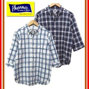 18S-P7BD2 チェック 7分袖ボタンダウンシャツ