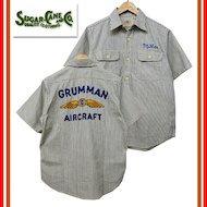 SC37909 ヒッコリーストライプ 刺繍 ワークシャツ