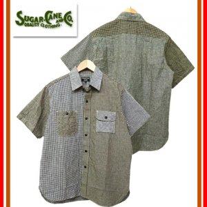 SC37898 コットンリネン クレイジーチェック 半袖ワークシャツ