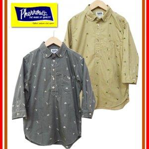 【限定生産】 【ラグタイム限定カラー】 18S-P7BDR プルオーバー ラウンドカラー刺繍入り七分袖シャツ