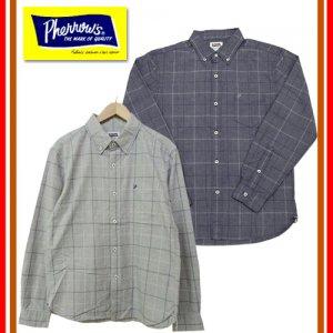 18W-PBD2-CH インディゴ杢チェックBDシャツ