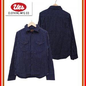 501656 インディゴストライプヘビーネルシャツ