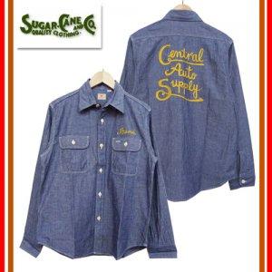 SC27986 チェーン刺繍 シャンブレーワークシャツ