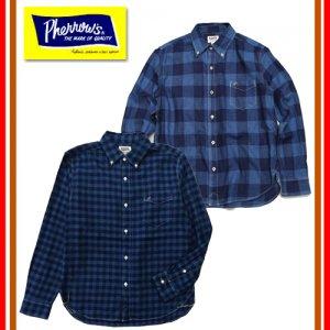 19S-PBD2-IND-CH インディゴチェックボタンダウンシャツ