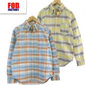 F3424 オックス ボタンダウン チェックシャツ