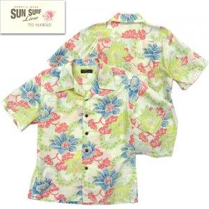 SS38110 「PARADISE FLOWERS」 コットンリネンスラブヤーンオープンシャツ