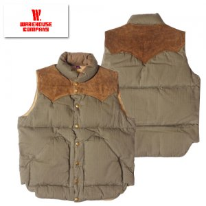 WAREHOUSE×ROCKY MOUNTAIN Lot2139 HERRINGBONE DOWN VEST (LONG WASH MODEL)