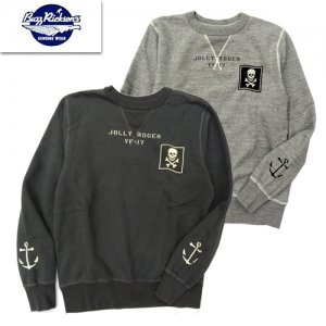 BR68394 SET-IN CREW SWEAT 「VF-17 JOLLY ROGER」