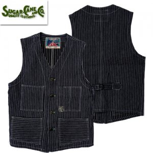 FICTION ROMANCE SC14597 「8oz INDIGO STRIPE WORK VEST」