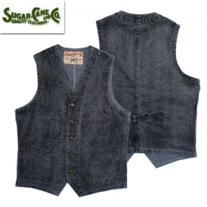 FICTION ROMANCE SC14599H 「8oz INDIGO PIN CHECK WORK VEST」