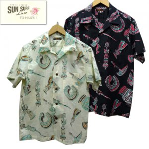 SS38410 コットンリネンスラブヤーンオープンシャツ 「NATIVE MASKS」