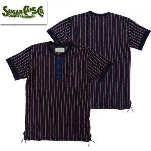 SC78531 ドビーストライプ ヘンリーネックTシャツ