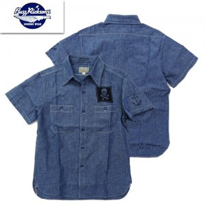 BR38324 「BLUE CHAMBRAY S/S WORK SHIRT 「JOLLY ROGER'S」
