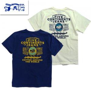 8002 5大陸吊り編みプリント半袖Tシャツ