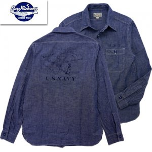 BR25658 BLUE CHAMBRAY WAORK SHIRT STENCIL