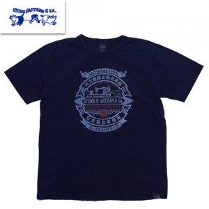 8033B インディゴプリントTシャツ USAコットン