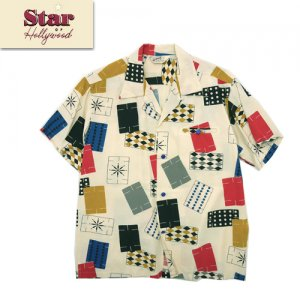 SH38638 HIGH DENSITY RAYON OPEN SHIRT 「CARDS OF GAME」