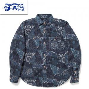 5661 藍布パッチワークプリントシャツ