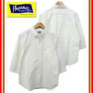 P7BD1 リネン混七分袖ボタンダウンシャツ