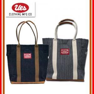 UES(ウエス) 801601M 革コンビトートバッグ ヒッコリーストライプ Mサイズ 鞄